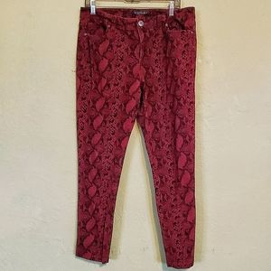 Baccini dark Red snake print stretch jeans.